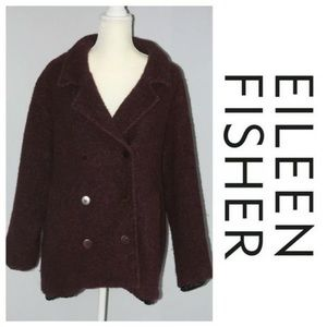 Eileen Fisher Burgundy Wool Coat Medium